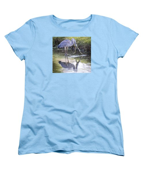 Women's T-Shirt (Standard Cut) featuring the photograph Great Blue Heron Vs Huge Frog by Ricky L Jones