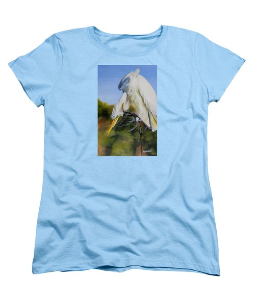 Great Egret In Fall Women's T-Shirt (Standard Cut) by Phyllis Beiser