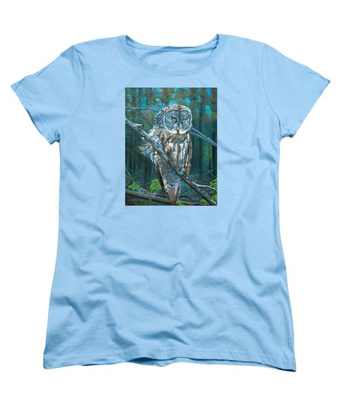 Women's T-Shirt (Standard Cut) featuring the painting Great Grey Owl by Sharon Duguay