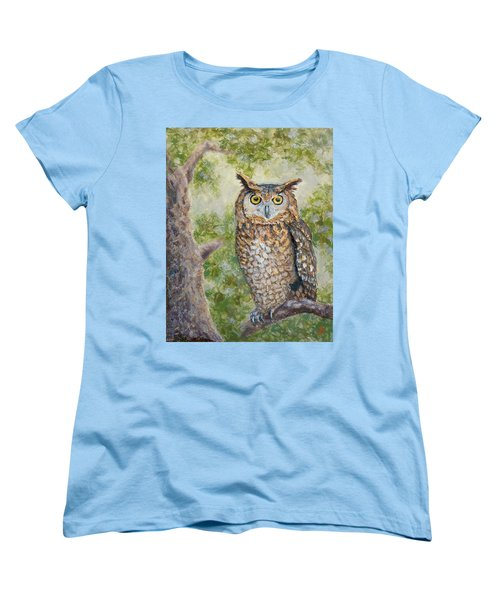 Women's T-Shirt (Standard Cut) featuring the painting Great Horned Owl by Joe Bergholm