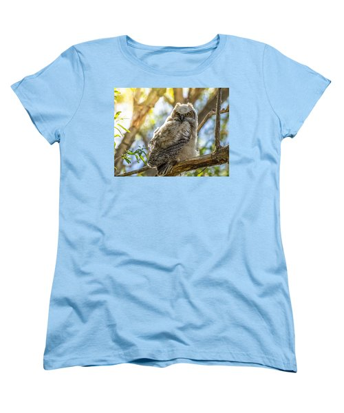 Great-horned Owlet In Spring Women's T-Shirt (Standard Cut) by Yeates Photography