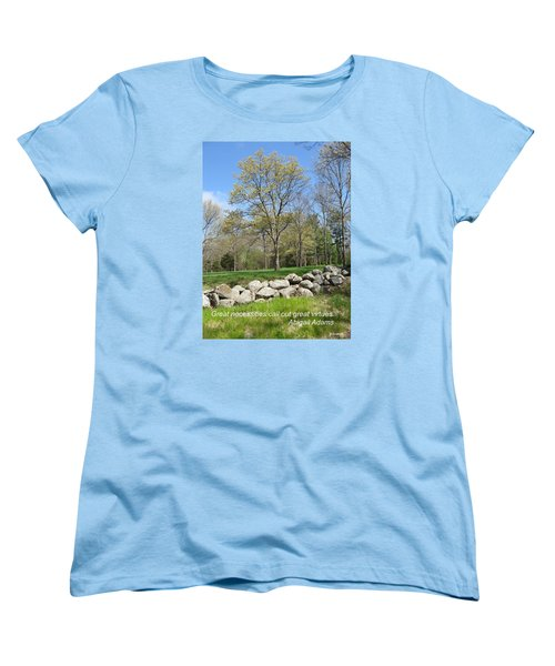 Great Necessities Call Out Great Virtues  Women's T-Shirt (Standard Cut) by Deborah Dendler