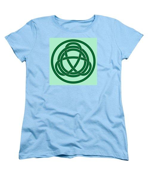 Women's T-Shirt (Standard Cut) featuring the digital art Green Celtic Knot by Jane McIlroy