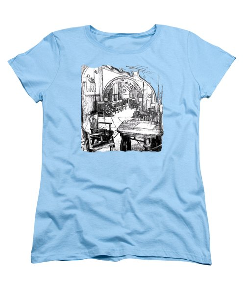 Women's T-Shirt (Standard Cut) featuring the drawing Green Dragon Inn's Writing Nook T-shirt by Kathy Kelly