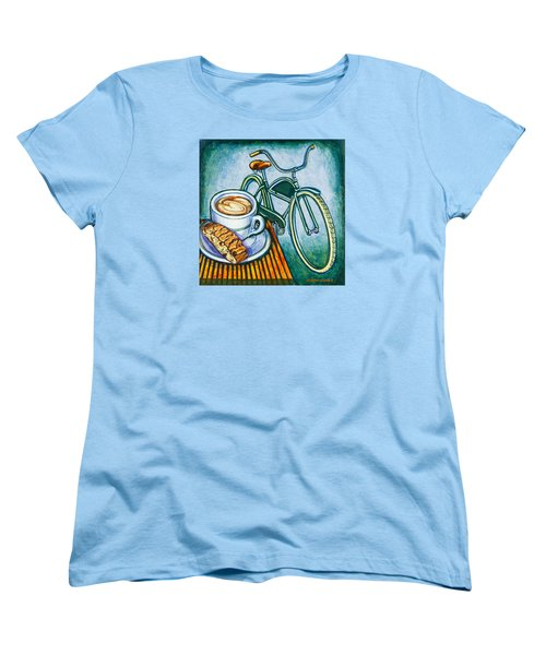 Green Electra Delivery Bicycle Coffee And Biscotti Women's T-Shirt (Standard Cut)