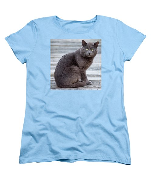 Green Eye Stare Cat Square Women's T-Shirt (Standard Cut) by Terry DeLuco