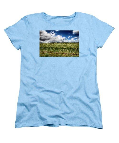 Women's T-Shirt (Standard Cut) featuring the photograph Green Fields by Douglas Barnard