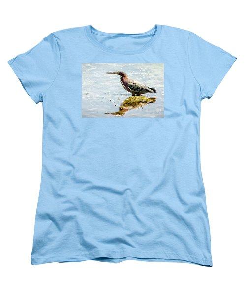 Women's T-Shirt (Standard Cut) featuring the photograph Green Heron Bright Day by Robert Frederick
