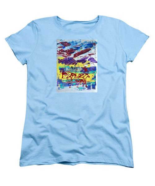 Women's T-Shirt (Standard Cut) featuring the painting Green Pastures And Purple Mountains by J R Seymour