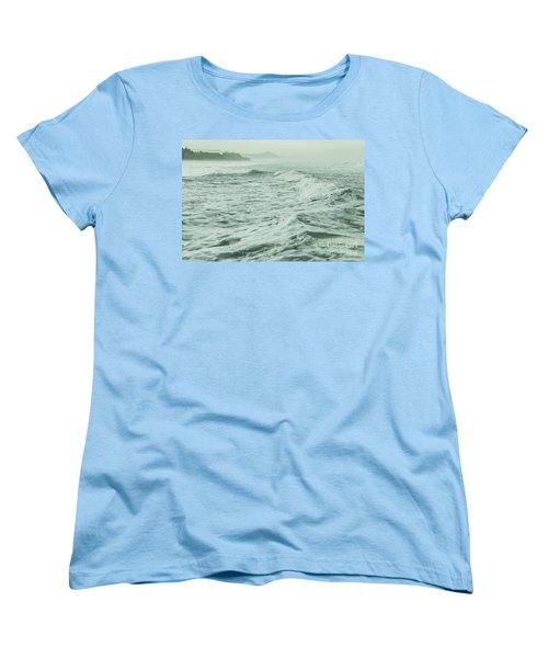 Green Waves Women's T-Shirt (Standard Cut) by Iris Greenwell