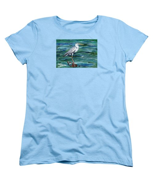 Grey Heron Of Cornwall -painting Women's T-Shirt (Standard Cut) by Veronica Rickard