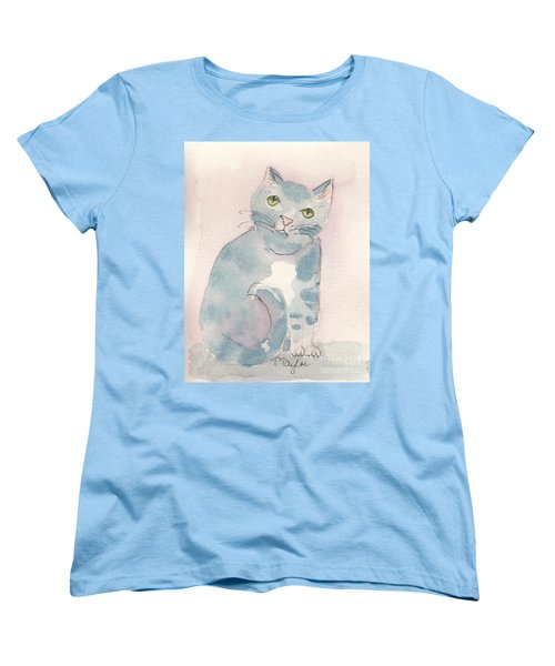 Women's T-Shirt (Standard Cut) featuring the painting Grey Tabby by Terry Taylor