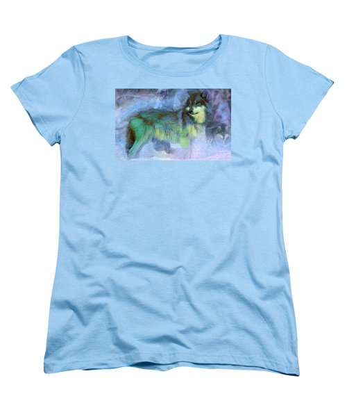 Grey Wolves In Snow Women's T-Shirt (Standard Cut) by Caito Junqueira