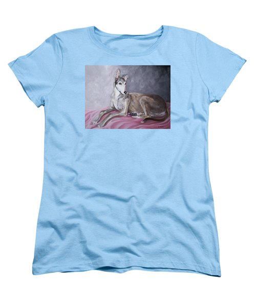 Greyhound At Rest Women's T-Shirt (Standard Cut) by George Pedro