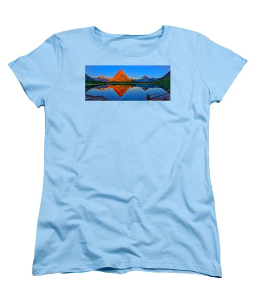Grinnell Point Alpenglow Panorama Women's T-Shirt (Standard Cut) by Greg Norrell