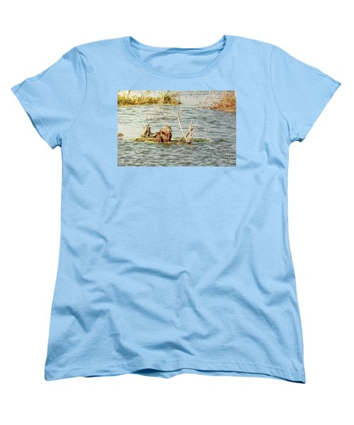 Women's T-Shirt (Standard Cut) featuring the photograph Grinning Nutria On Reeds by Robert Frederick