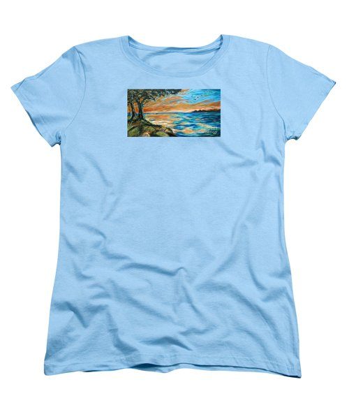 Women's T-Shirt (Standard Cut) featuring the painting Guana Sunset by Linda Olsen