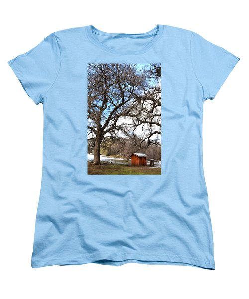 Women's T-Shirt (Standard Cut) featuring the photograph Guard Shack At Fort Tejon Lebec California by Floyd Snyder