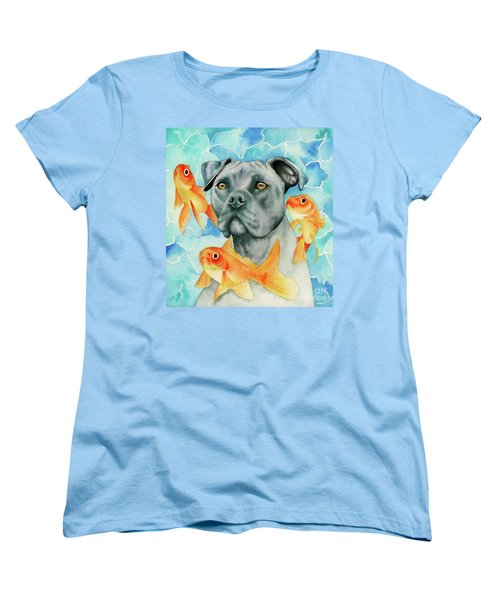 Guardian - Pit Bull Dog And Goldfishes Watercolor Painting Women's T-Shirt (Standard Fit)