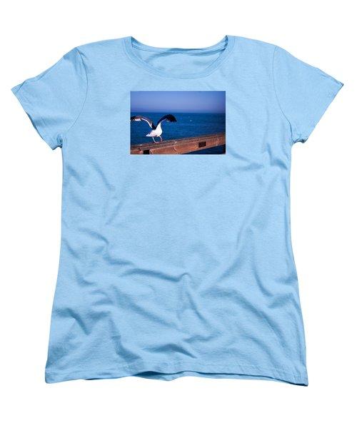 Women's T-Shirt (Standard Cut) featuring the photograph Gull Dance by Lora Lee Chapman