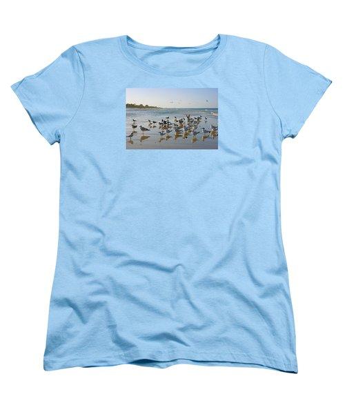 Gulls And Terns On The Sanbar At Lowdermilk Park Beach Women's T-Shirt (Standard Cut) by Robb Stan