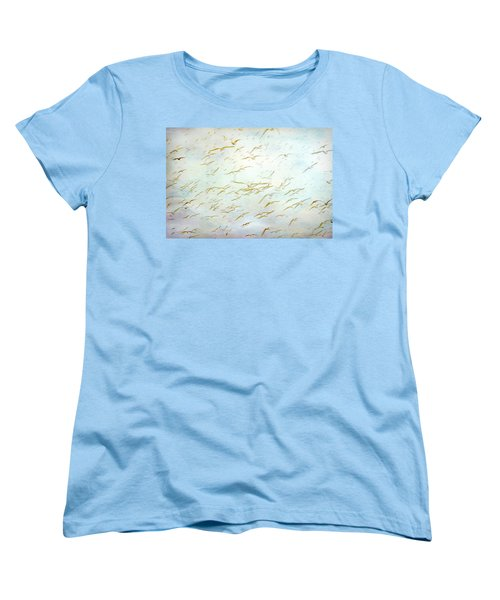 Women's T-Shirt (Standard Cut) featuring the painting Gulls At The Beach by Peggy Collins