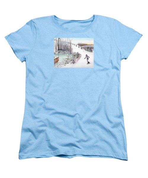 Women's T-Shirt (Standard Cut) featuring the painting Gunnar Slope And The Ducky Pond by Albert Puskaric