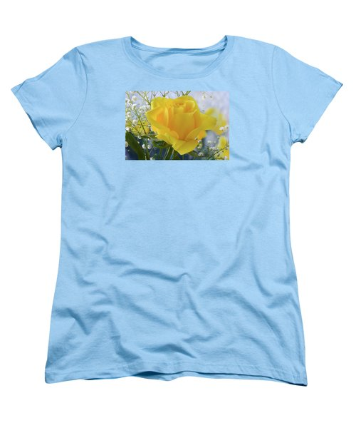 Women's T-Shirt (Standard Cut) featuring the photograph Gypsophila And The Rose. by Terence Davis