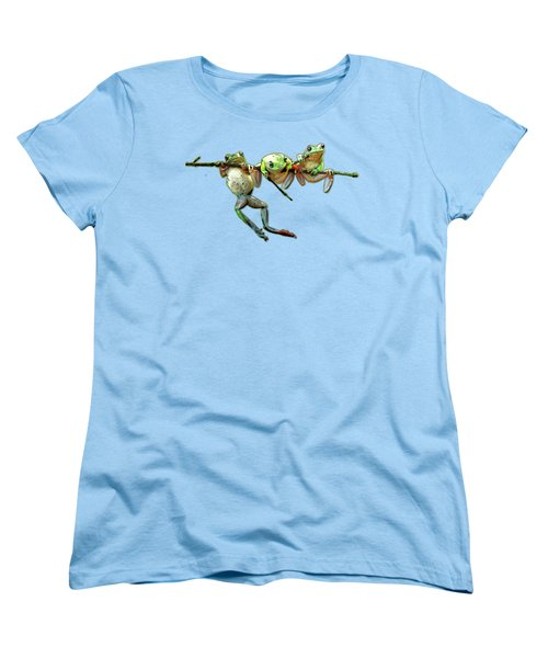 Hang In There Froggies Women's T-Shirt (Standard Cut) by Elaine Plesser