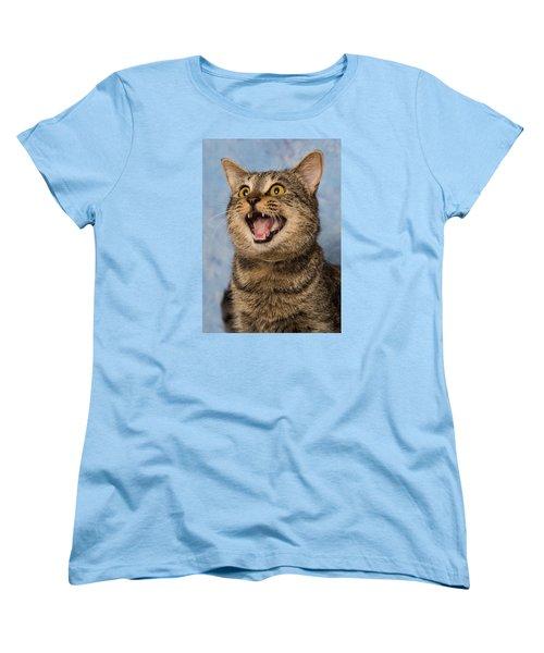 Happy Cat Women's T-Shirt (Standard Cut) by Janis Knight