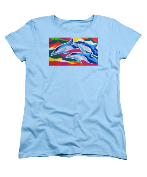 Happy Dolphin Dance Women's T-Shirt (Standard Cut) by Stephen Anderson