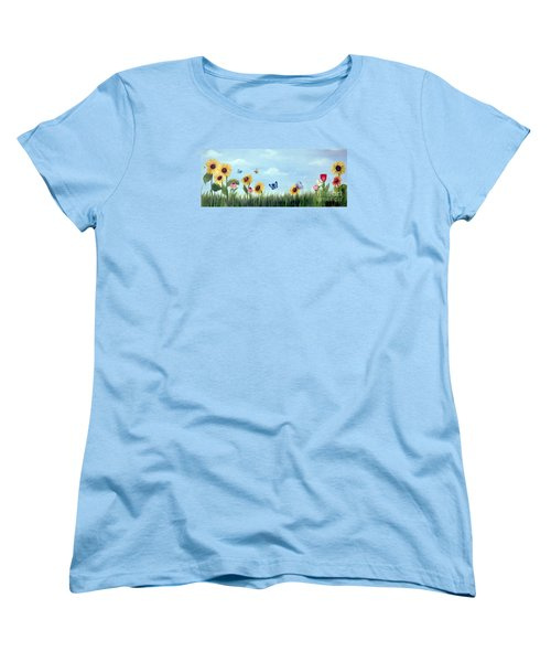 Women's T-Shirt (Standard Cut) featuring the painting Happy Garden by Carol Sweetwood