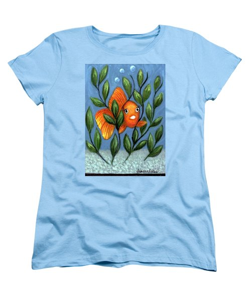 Happy Goldfish Women's T-Shirt (Standard Cut) by Sandra Estes