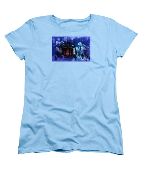 Women's T-Shirt (Standard Cut) featuring the digital art Happy Holiday Little Chapel On The Hill by Sherri  Of Palm Springs