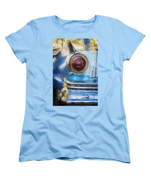 Women's T-Shirt (Standard Cut) featuring the photograph Havana Cuba Vintage Car Tail Light Painterly by Joan Carroll