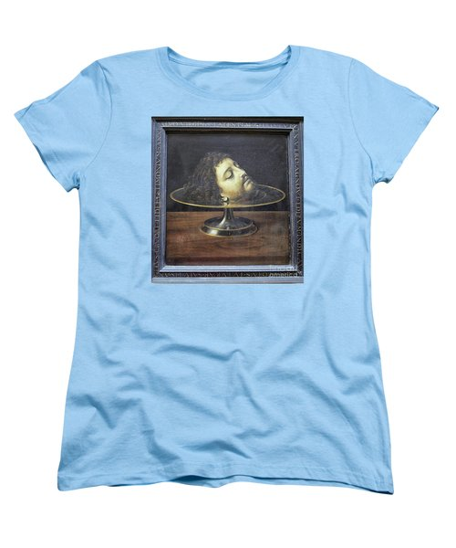 Women's T-Shirt (Standard Cut) featuring the photograph Head Of John The Baptist, 1507, With Frame And Inscription -- By by Patricia Hofmeester