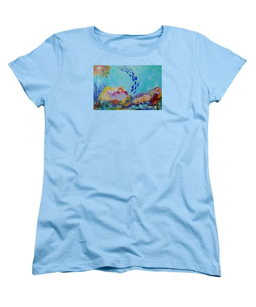 Women's T-Shirt (Standard Cut) featuring the painting Heading For The Coral by Lyn Olsen