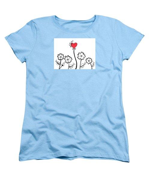 Heart Flower Women's T-Shirt (Standard Cut)