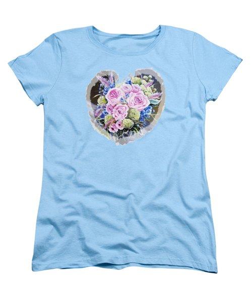 Heart Of Rose Women's T-Shirt (Standard Cut) by Vesna Martinjak