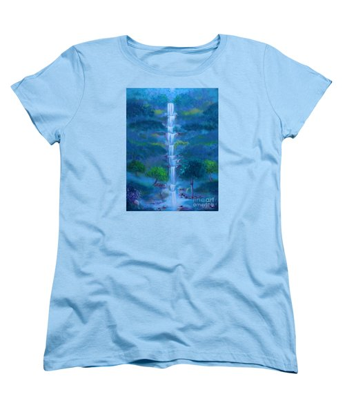 Women's T-Shirt (Standard Cut) featuring the painting Heavenly Falls by Stacey Zimmerman