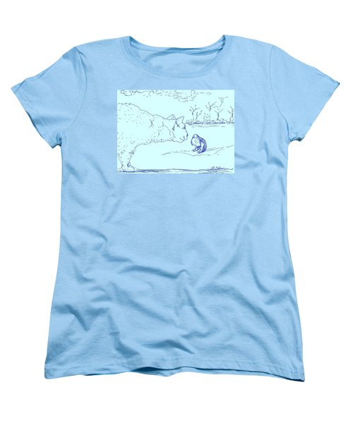 Women's T-Shirt (Standard Cut) featuring the drawing Hello Birdie by Denise Fulmer