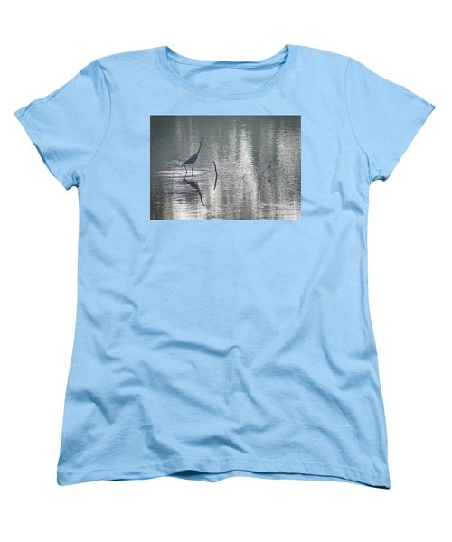 Women's T-Shirt (Standard Cut) featuring the photograph Heron In Pastel Waters by Skip Willits