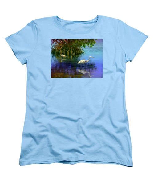 Women's T-Shirt (Standard Cut) featuring the painting Herons In Mangroves by David  Van Hulst