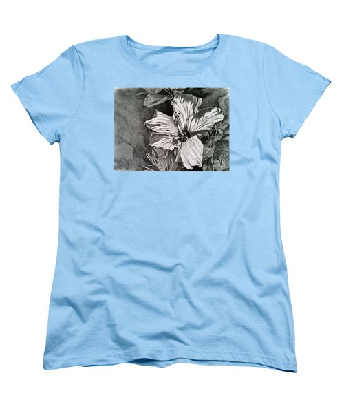 Women's T-Shirt (Standard Cut) featuring the drawing Hibiscus by Terri Mills