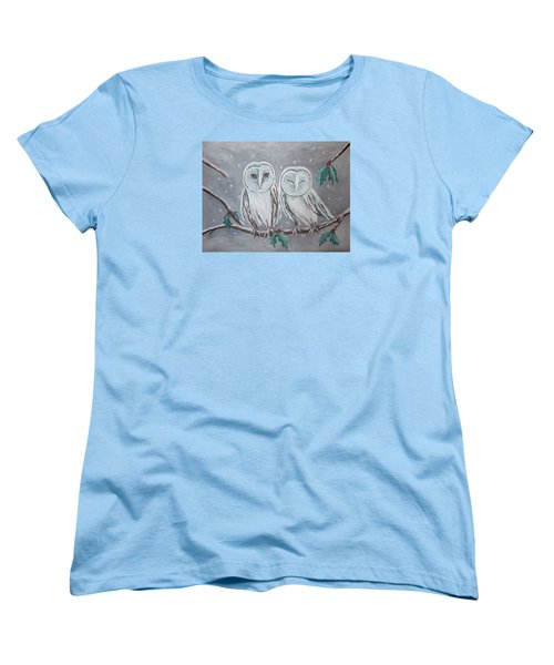 Women's T-Shirt (Standard Cut) featuring the painting Hiboux En Hiver by Victoria Lakes
