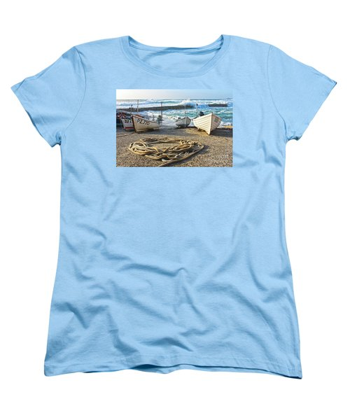 Women's T-Shirt (Standard Cut) featuring the photograph High Tide In Sennen Cove Cornwall by Terri Waters