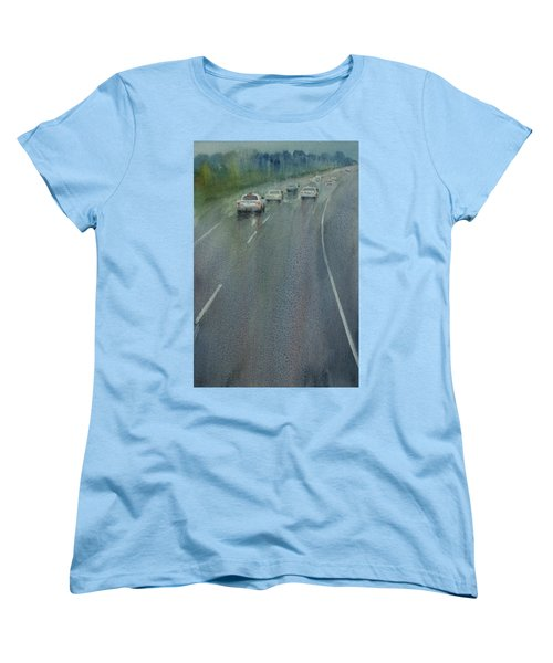 Women's T-Shirt (Standard Cut) featuring the painting Highway On The Rain02 by Helal Uddin