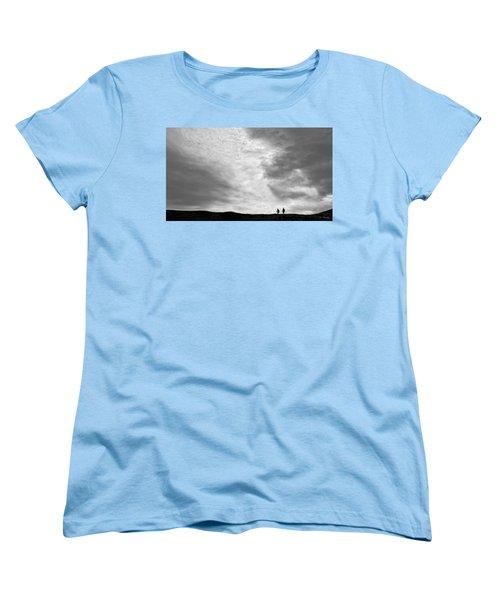 Women's T-Shirt (Standard Cut) featuring the photograph Hikers Under The Clouds by Joe Bonita