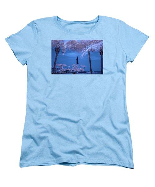 Women's T-Shirt (Standard Cut) featuring the photograph Hillsboro Inlet Lighthouse Infrared by Louis Ferreira