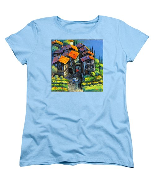 Hilltop Willage Women's T-Shirt (Standard Cut) by Mikhail Zarovny